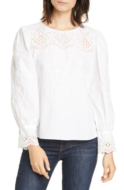 La Vie Rebecca Taylor Tops EMBROIDERY DETAIL COTTON POPLIN BLOUSE