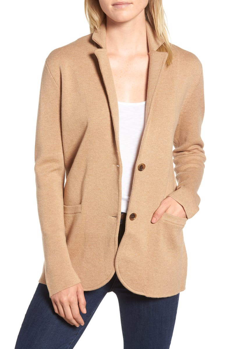 J.CREW Merino Sweater Blazer, Main, color, HEATHER KHAKI