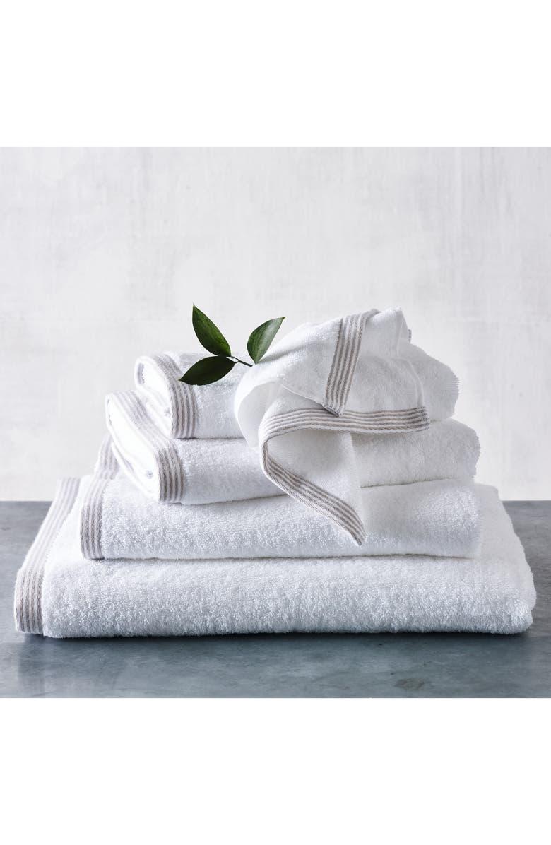 THE WHITE COMPANY Color Stripe Border Bath Sheet Towel, Main, color, WHITE/ PUTTY