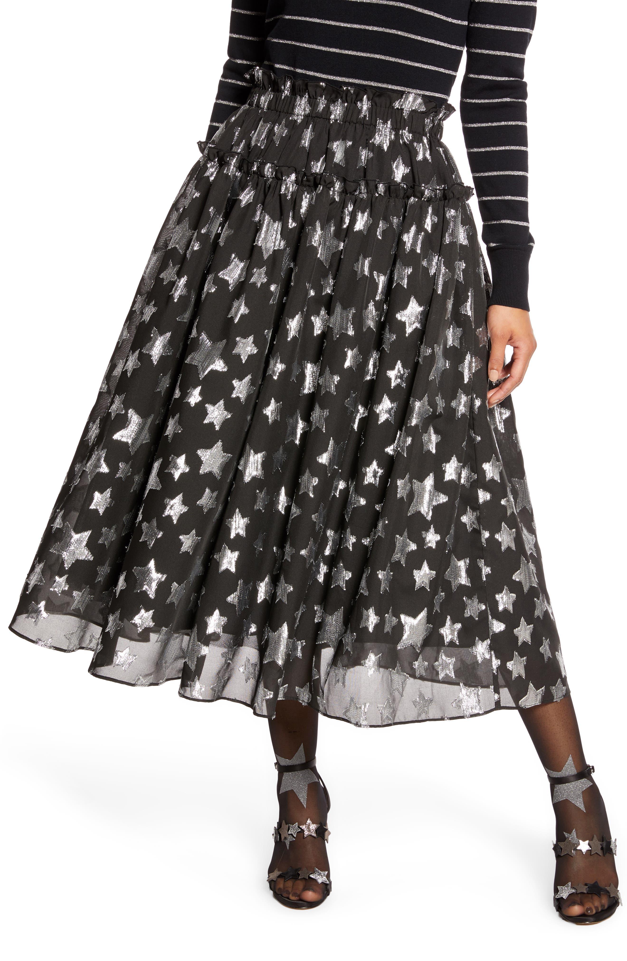 Halogen® x Atlantic-Pacific Star Chiffon Midi Skirt (Nordstrom Exclusive)