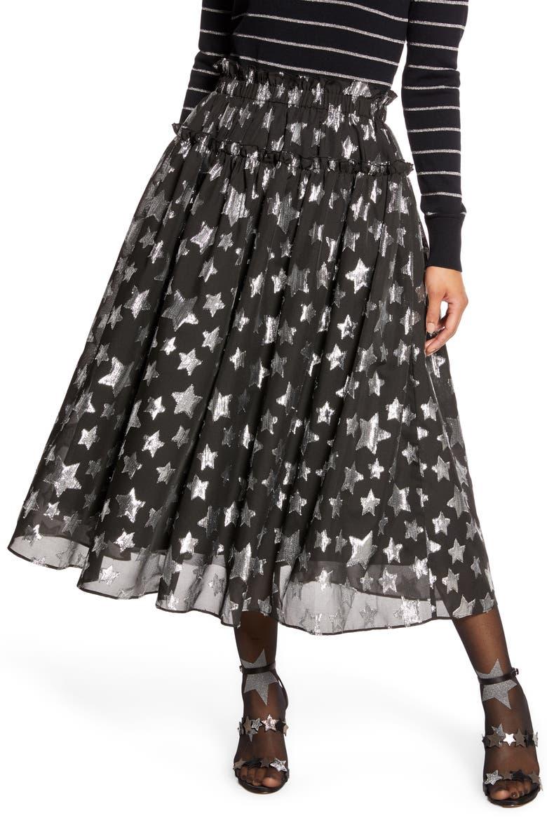 HALOGEN<SUP>®</SUP> x Atlantic-Pacific Star Chiffon Midi Skirt, Main, color, BLACK- SILVER STARLIGHT PTN