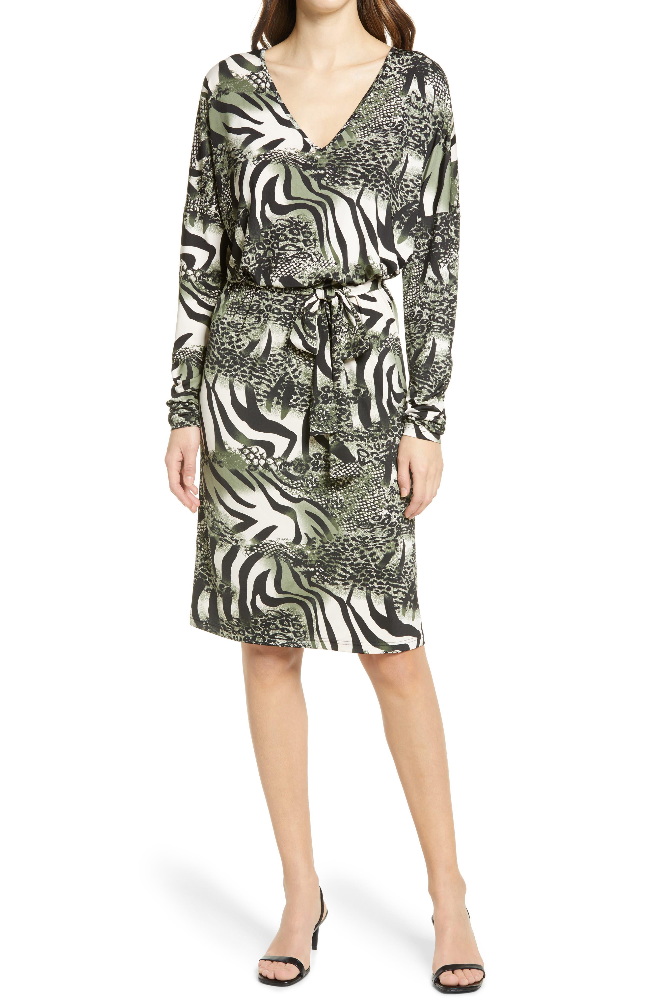 Animal Print Belted Long Sleeve Jersey Dress