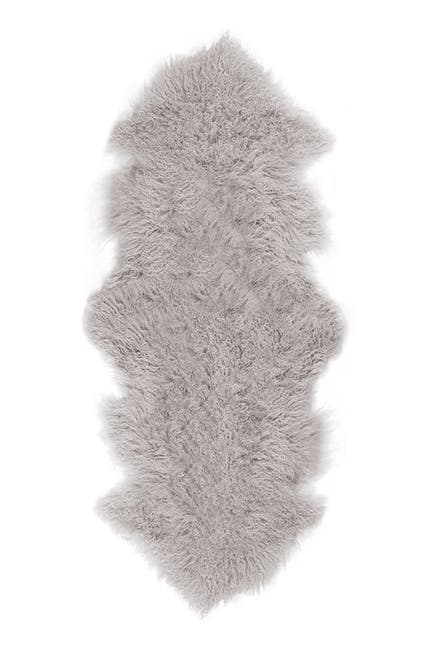 Image of LUXE Rockwall Faux Fur Throw - 2ft. x 6ft - Sage Grey