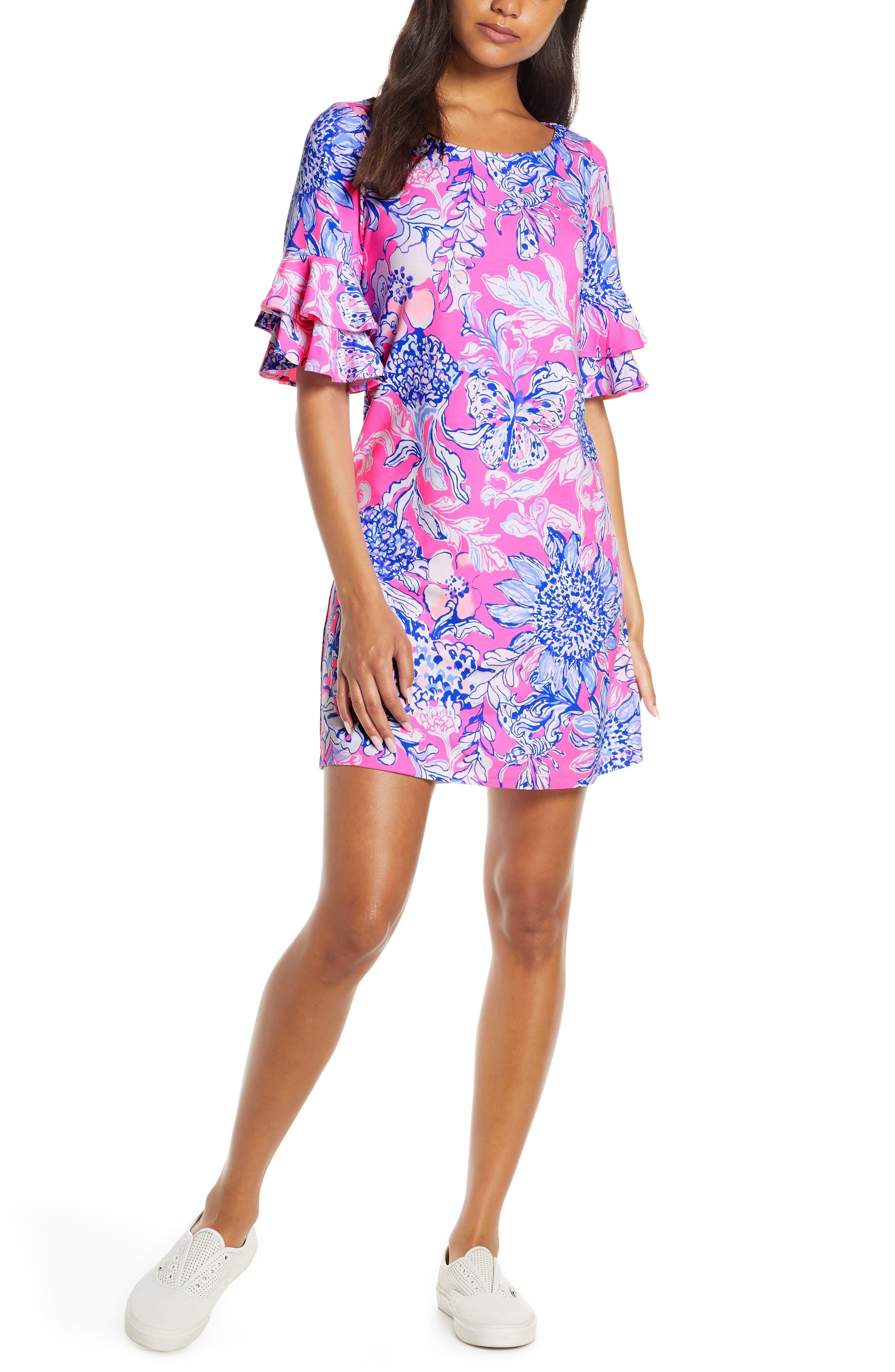 Lilly Pulitzer Lula Ruffle Sleeve Shift Dress, Pink