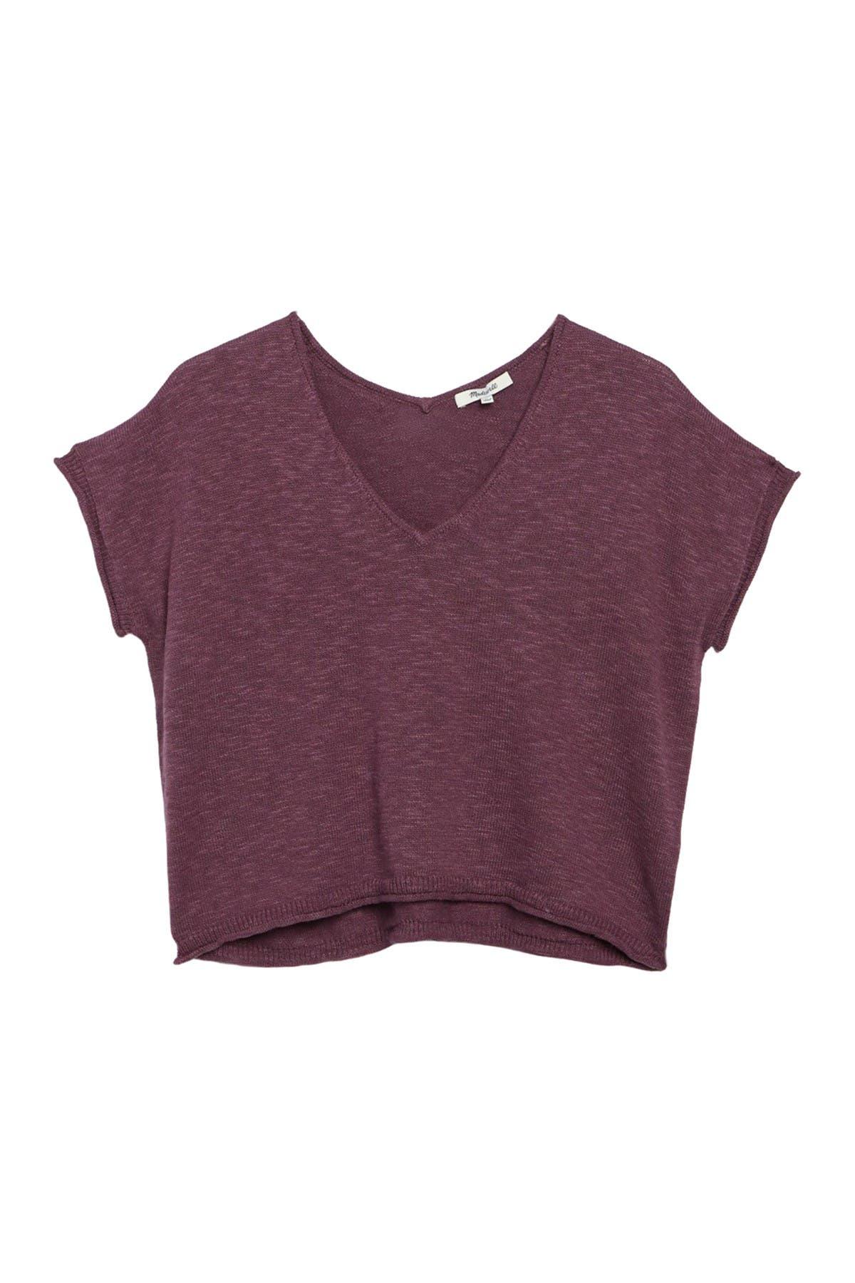Image of Madewell Ellendale Marled Short Sleeve Sweater Top