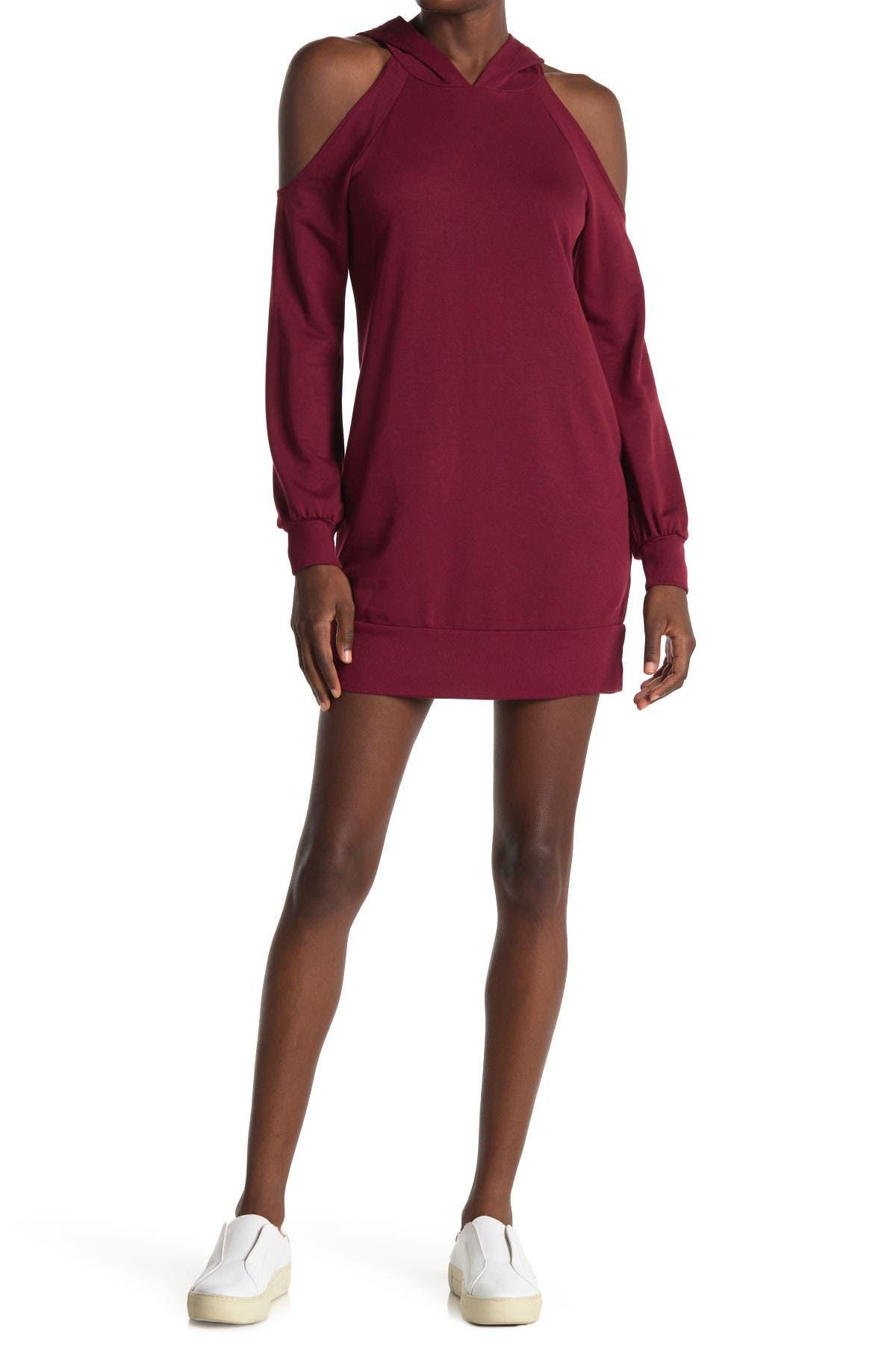 Image of KENEDIK Cold Shoulder Fleece Sweatshirt Dress