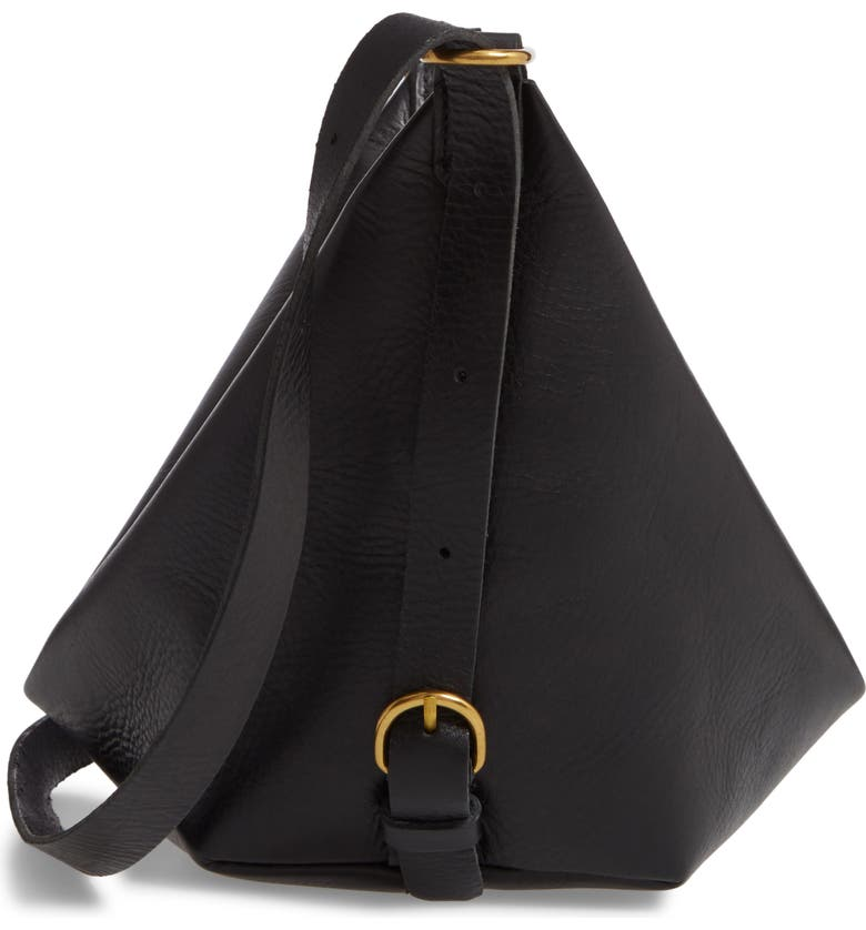 MADEWELL The Leather Sling Bag, Main, color, BLACK/ TRUE BLACK