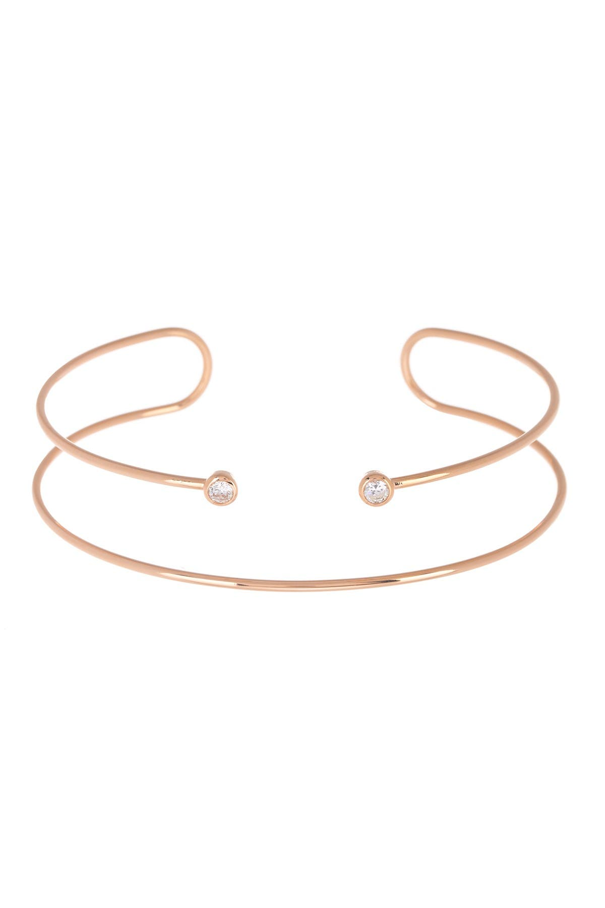 Image of Argento Vivo Rose Gold Plated Sterling Silver CZ Wire Cuff