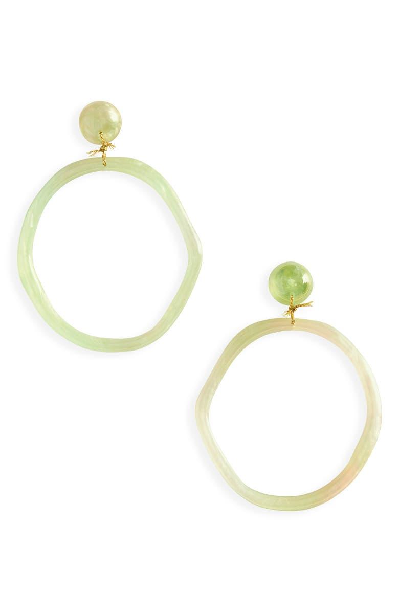 LELE SADOUGHI Organic Hoop Earrings, Main, color, MOSS GREEN