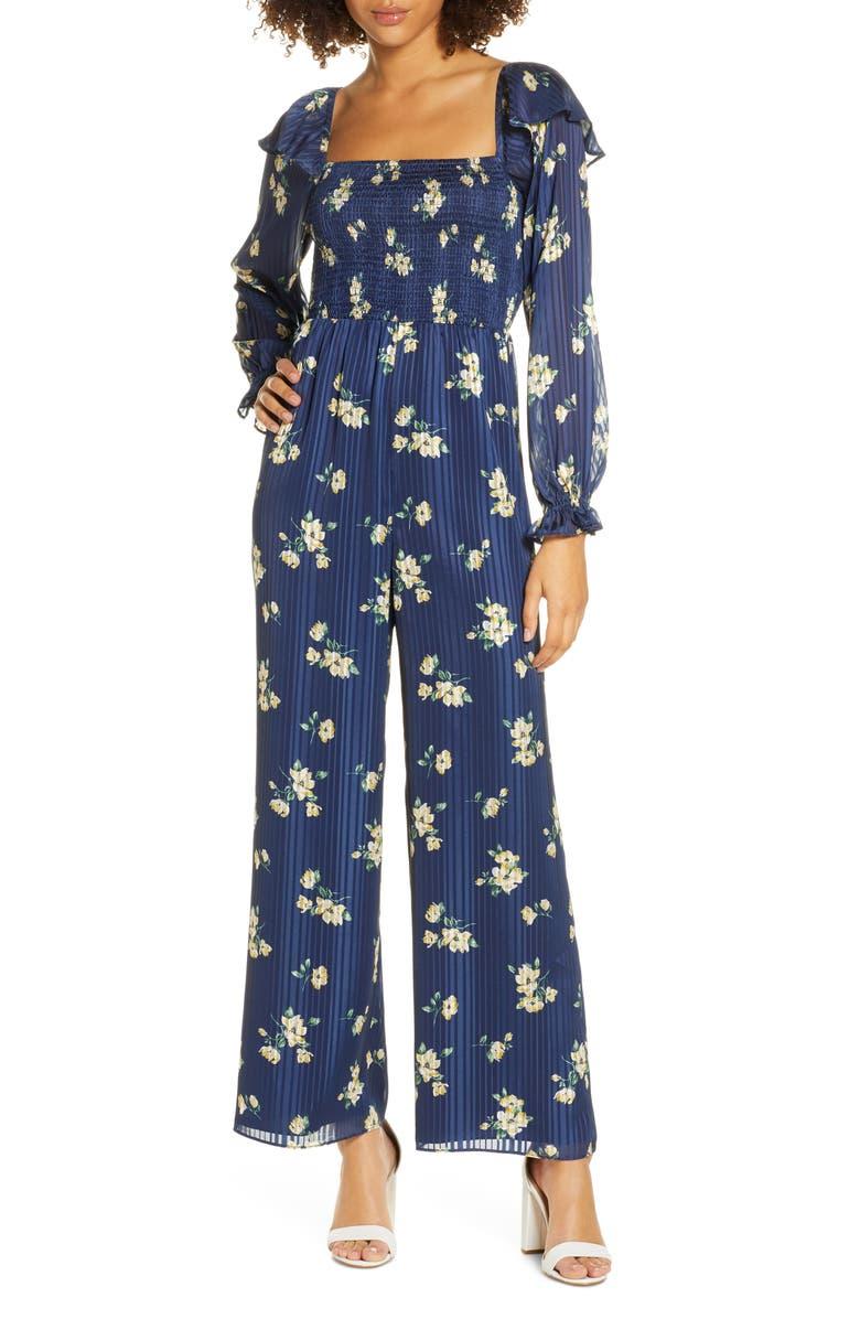 ALI & JAY Los Feliz Long Sleeve Floral Jumpsuit, Main, color, NAVY FLORAL