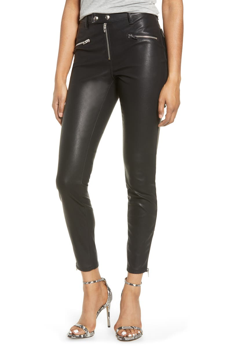 BLANKNYC Faux Leather Skinny Pants, Main, color, 001