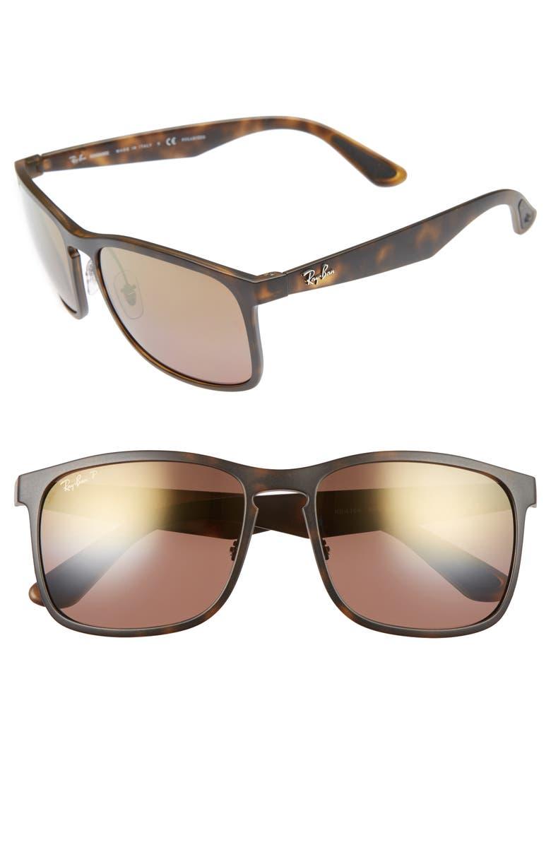 RAY-BAN 58mm Chromance Sunglasses, Main, color, MATTE HAVANA/BROWN MIRROR GOLD
