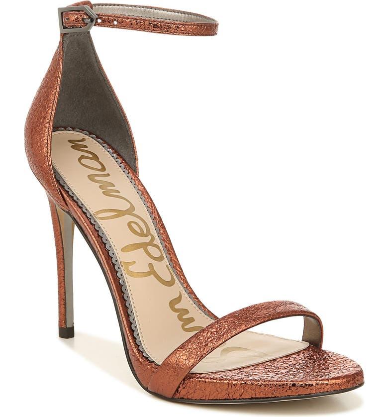SAM EDELMAN Ariella Ankle Strap Sandal, Main, color, RICH AUBURN LEATHER