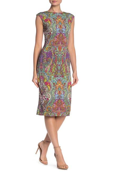 Image of London Times Paisley Cap Sleeve Midi Dress