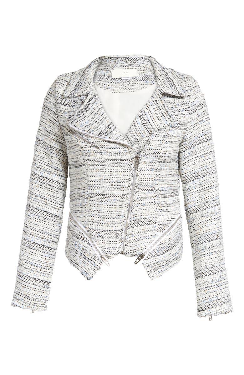 BLANKNYC Tweed Fitted Zipper Moto Jacket, Main, color, UNWRITTEN RULES