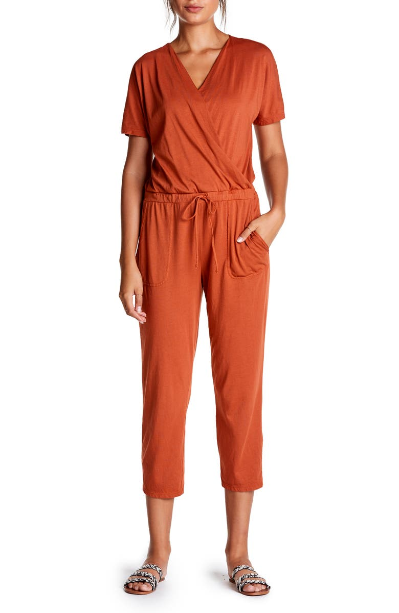 MICHAEL STARS Short Sleeve Cotton Blend Crop Jumpsuit, Main, color, PENNY