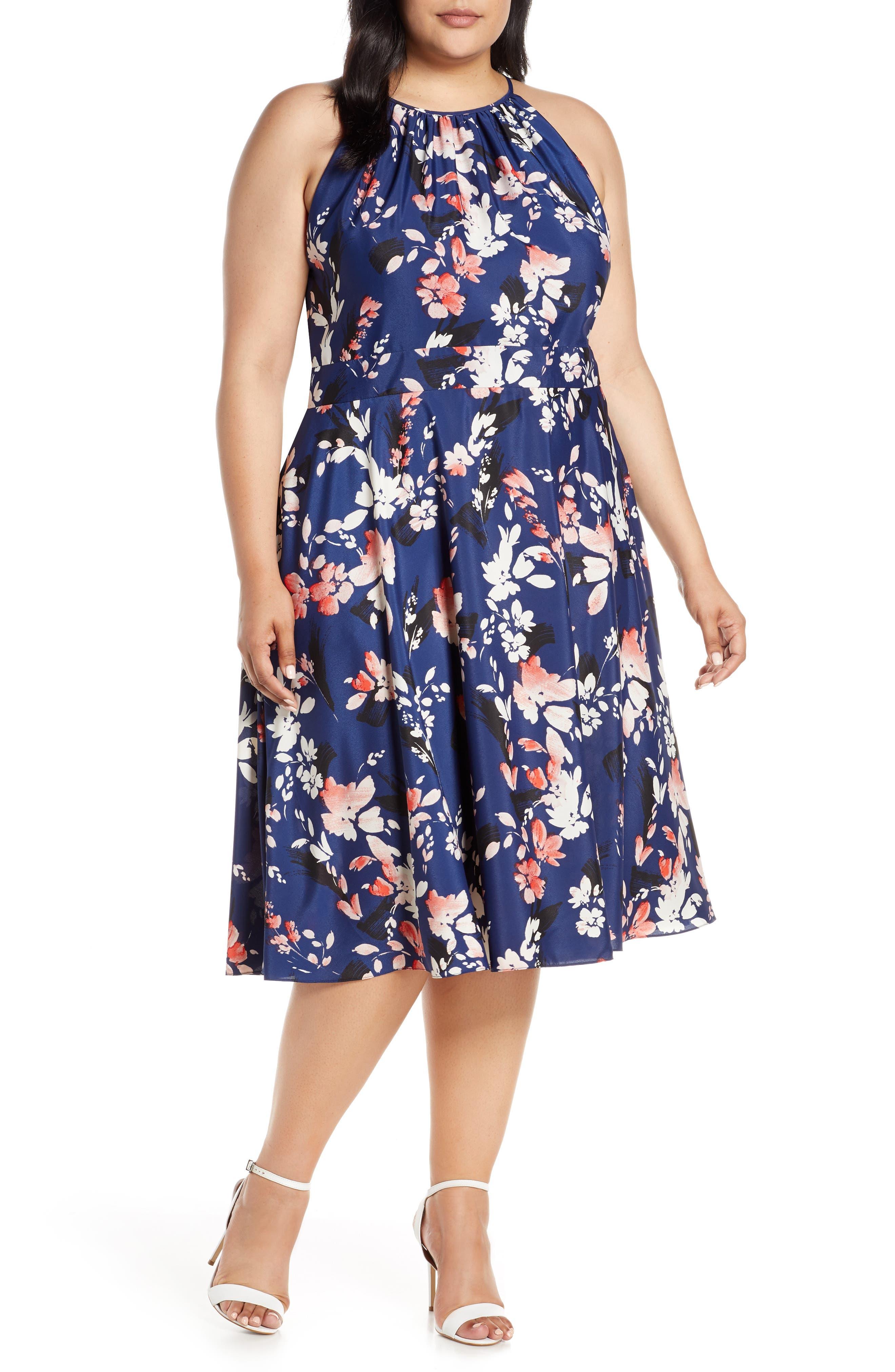 Plus Size Eliza J Floral Halter Crepe De Chine Midi Dress, Blue