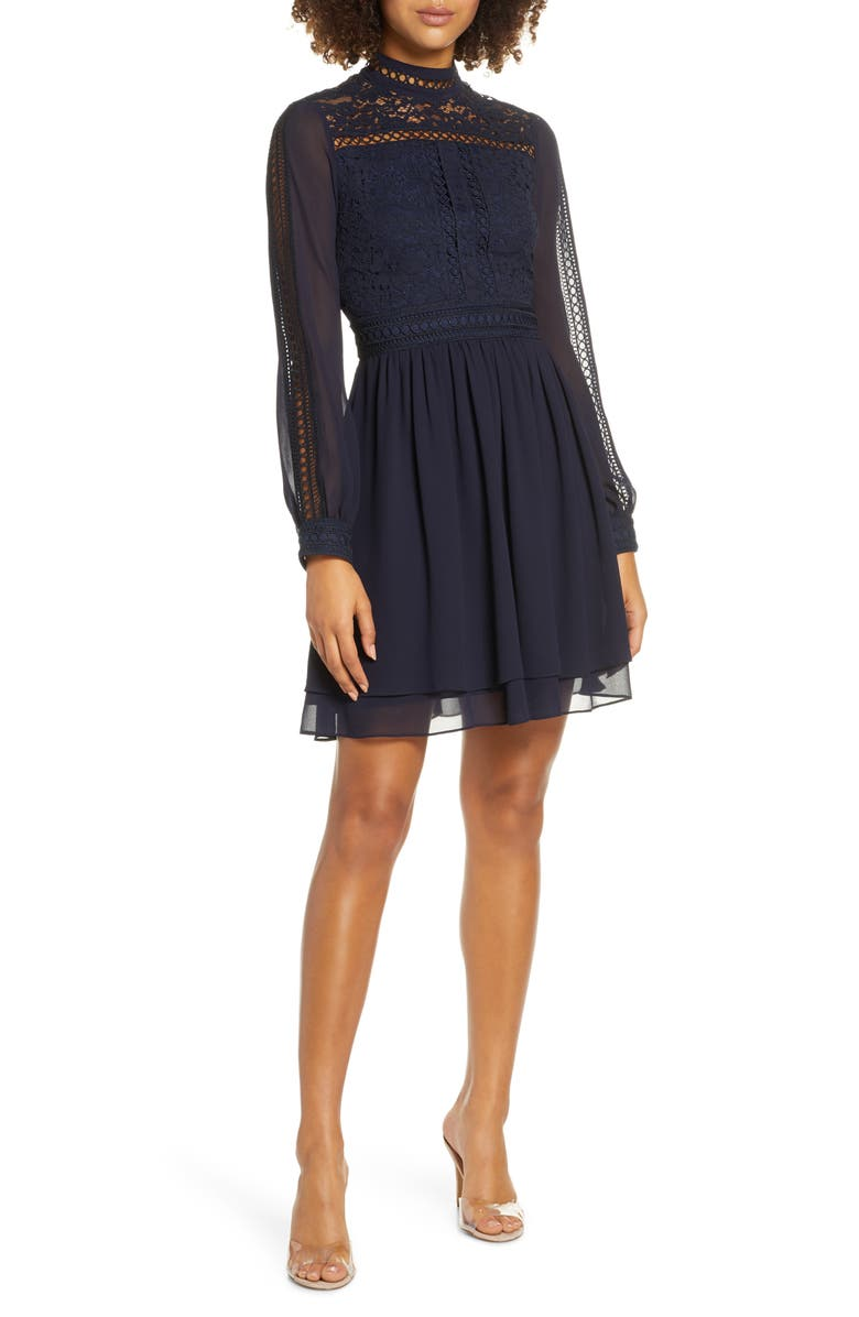 EVER NEW Laurina Long Sleeve Lace Fit & Flare Dress, Main, color, NAVY