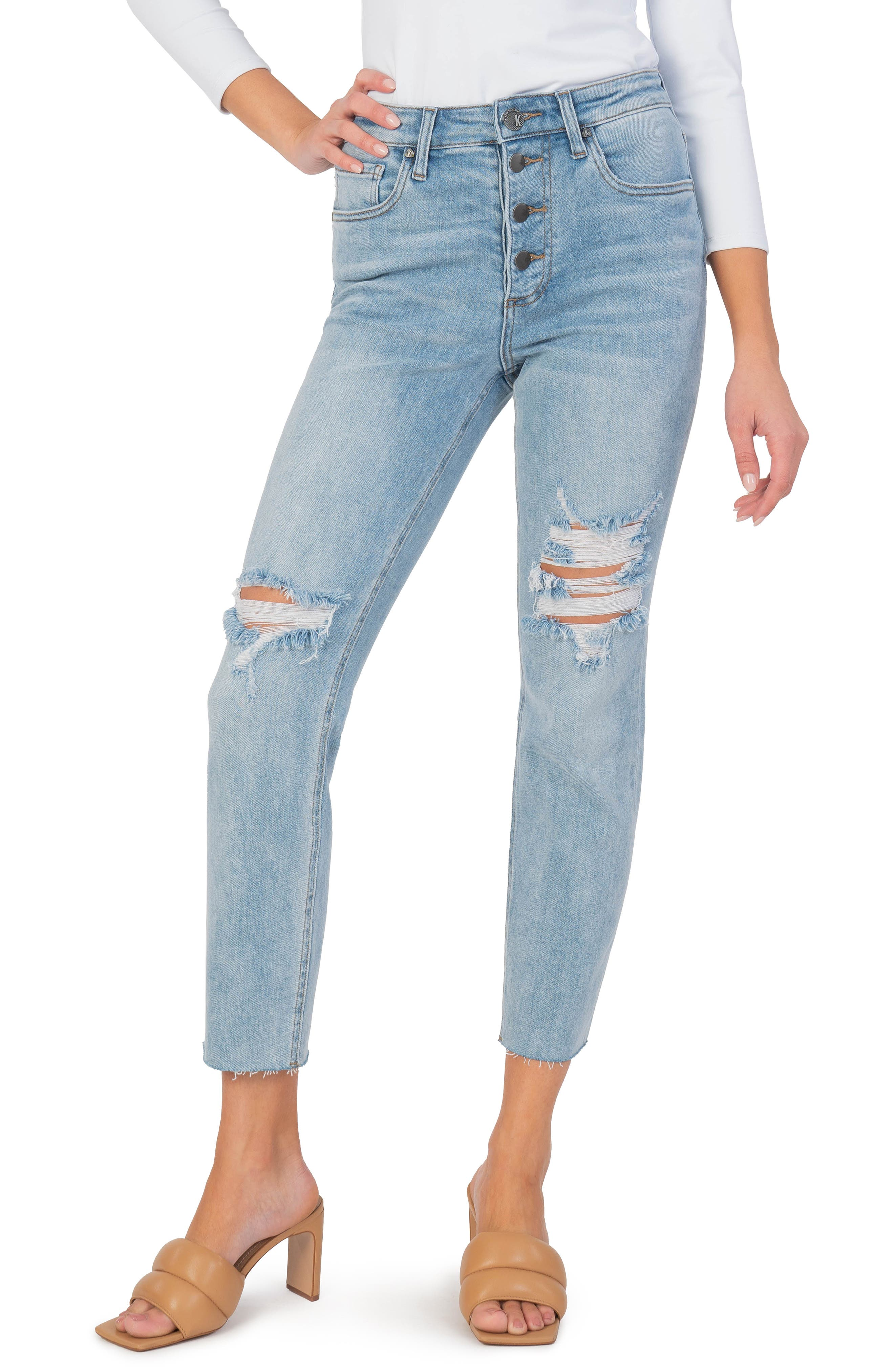 Rachael Ripped Exposed Button Raw Hem Mom Jeans