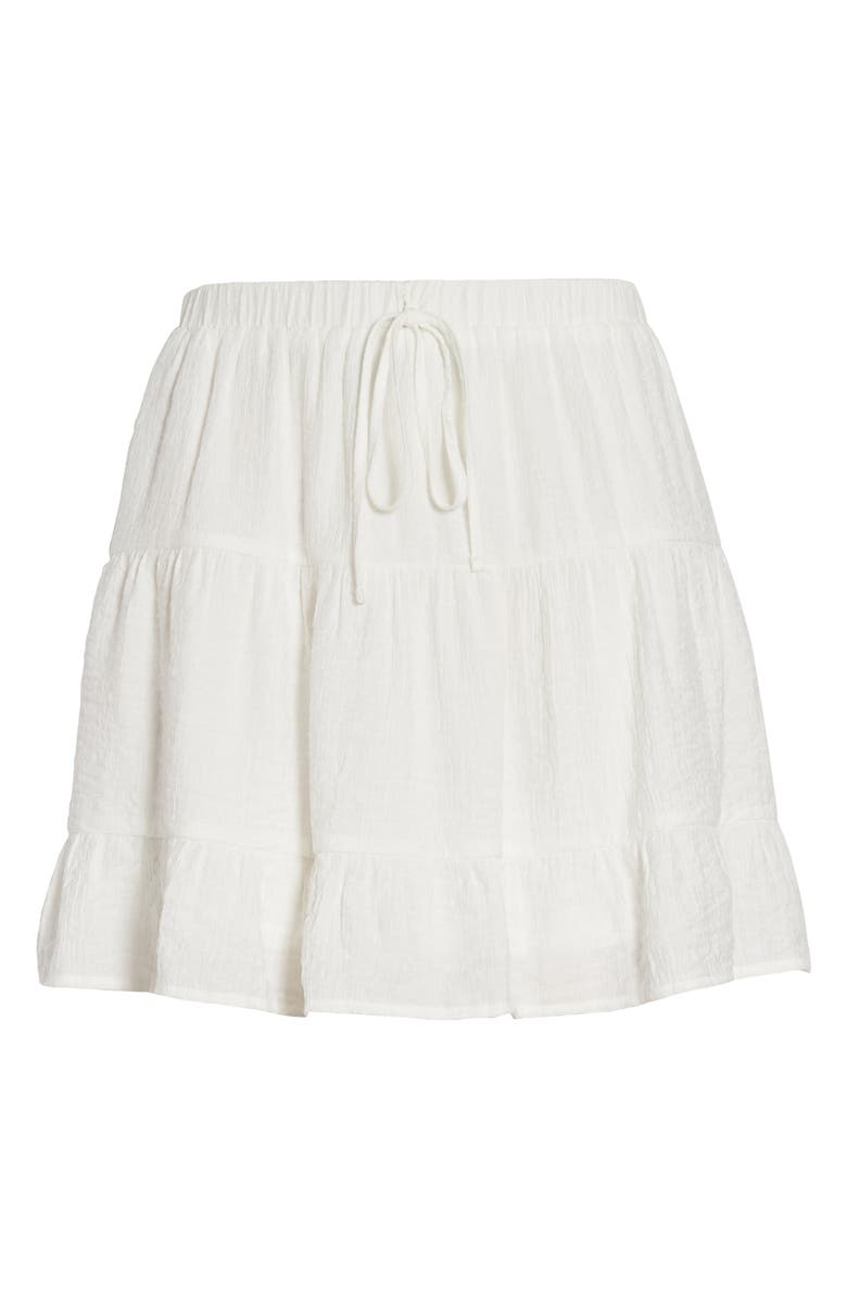 ONE CLOTHING Tiered Miniskirt, Main, color, WHITE