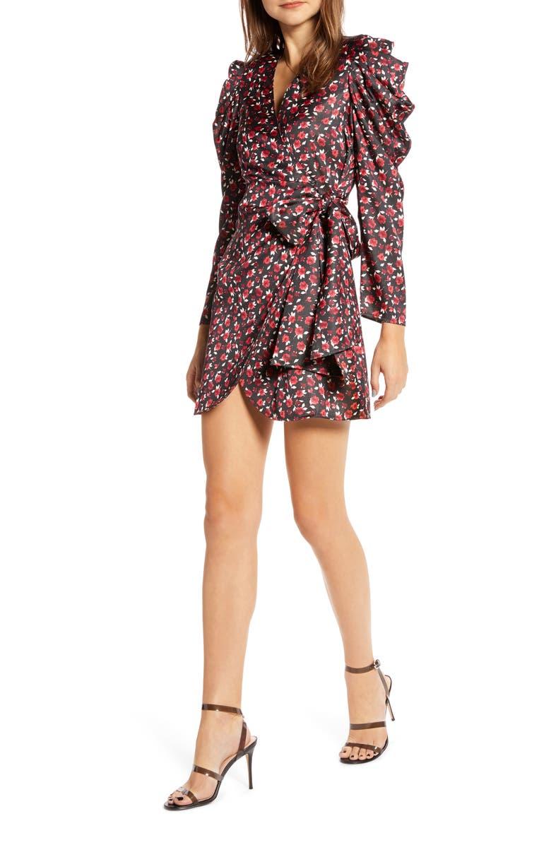 SOMETHING NAVY Long Sleeve Wrap Minidress, Main, color, 001