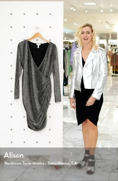 Metallic Long Sleeve Wrap Dress, sales video thumbnail