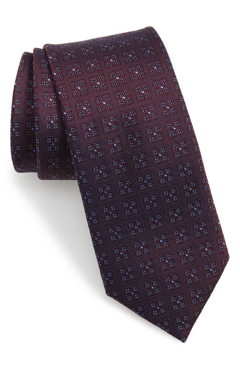 TED BAKER LONDON Geo Pattern Silk Tie, Main, color, BURGUNDY