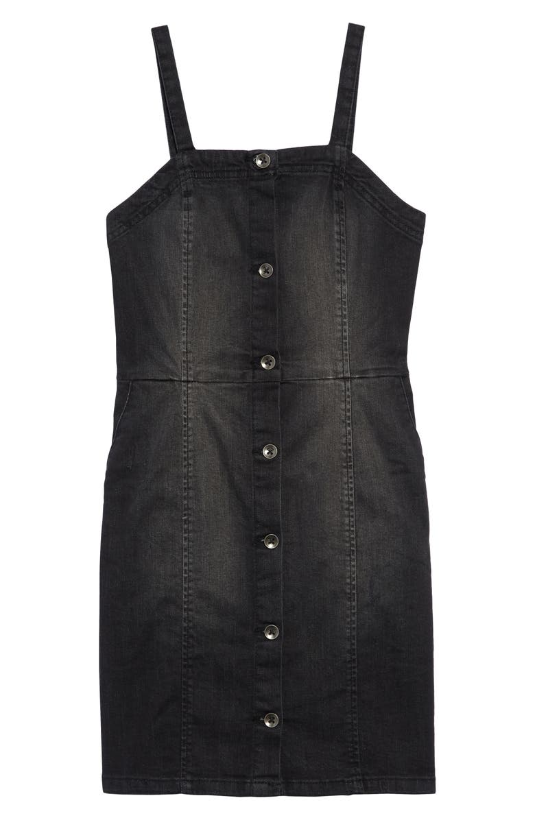 TREASURE & BOND Denim Pinafore Dress, Main, color, BLACK WASH
