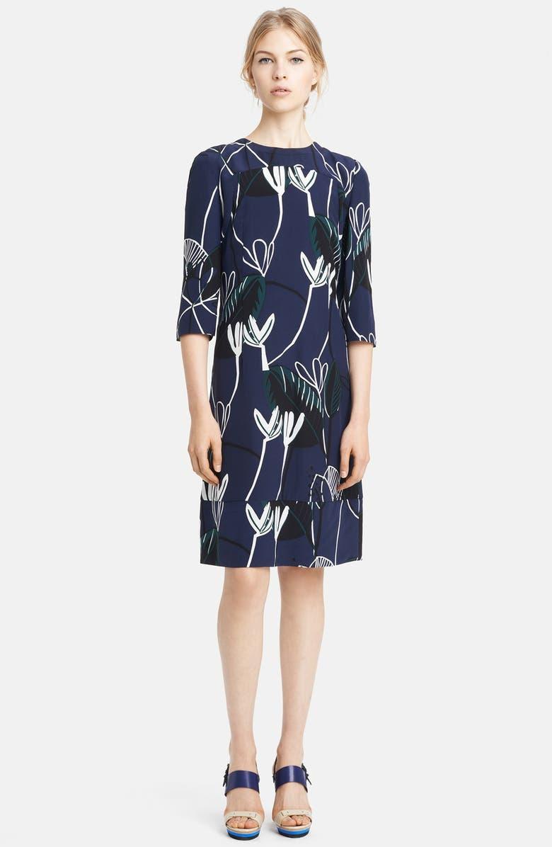 MARNI Print Silk Dress, Main, color, 410