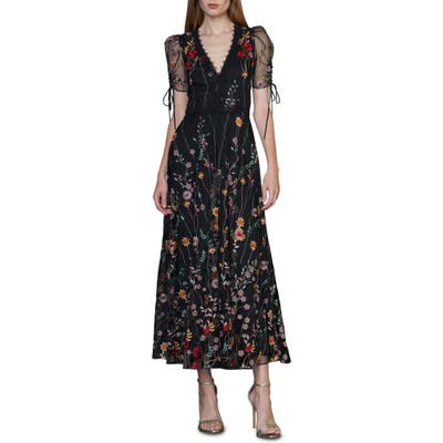 Ml Monique Lhuillier Puff Sleeve Embroidered Midi Dress, Black