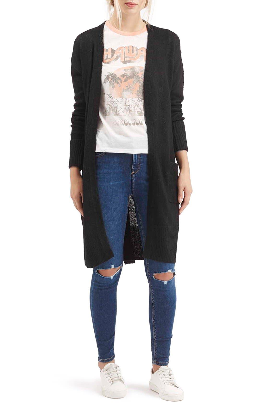 'Lulu' Belted Longline Cardigan, Main, color, 001