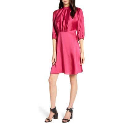 Rebecca Minkoff Whitney Mock Neck Satin Dress, Pink