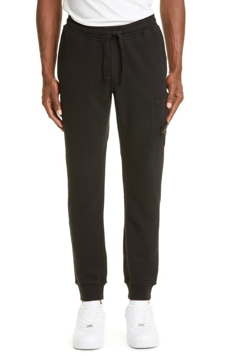 STONE ISLAND Flim Logo Patch Sweatpants, Main, color, BLACK