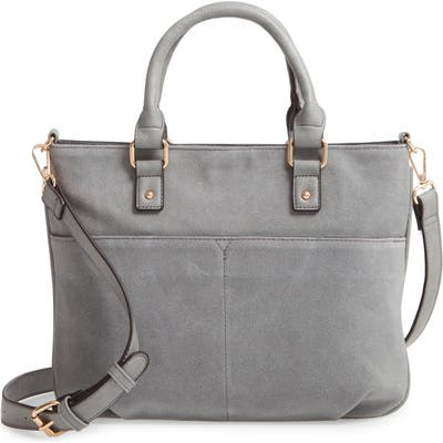 Sole Society Suede & Faux Leather Satchel - Grey