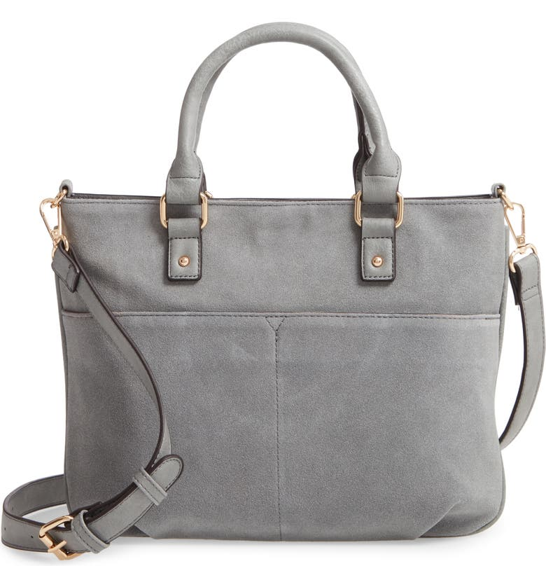 SOLE SOCIETY Suede & Faux Leather Satchel, Main, color, GREY