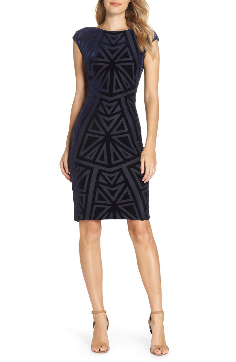 VINCE CAMUTO Velvet Jacquard Sheath Dress, Main, color, NAVY