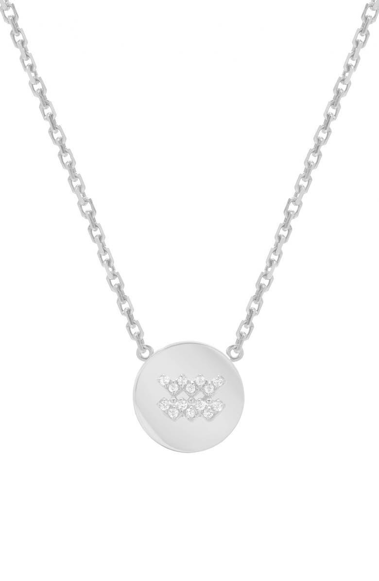 MINI MINI JEWELS Framed Diamond Zodiac Sign Pendant Necklace, Main, color, WHITE GOLD-AQUARIUS