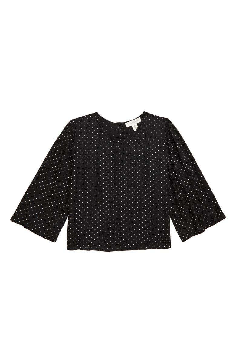 TREASURE & BOND Flare Sleeve Top, Main, color, BLACK- IVORY DOT