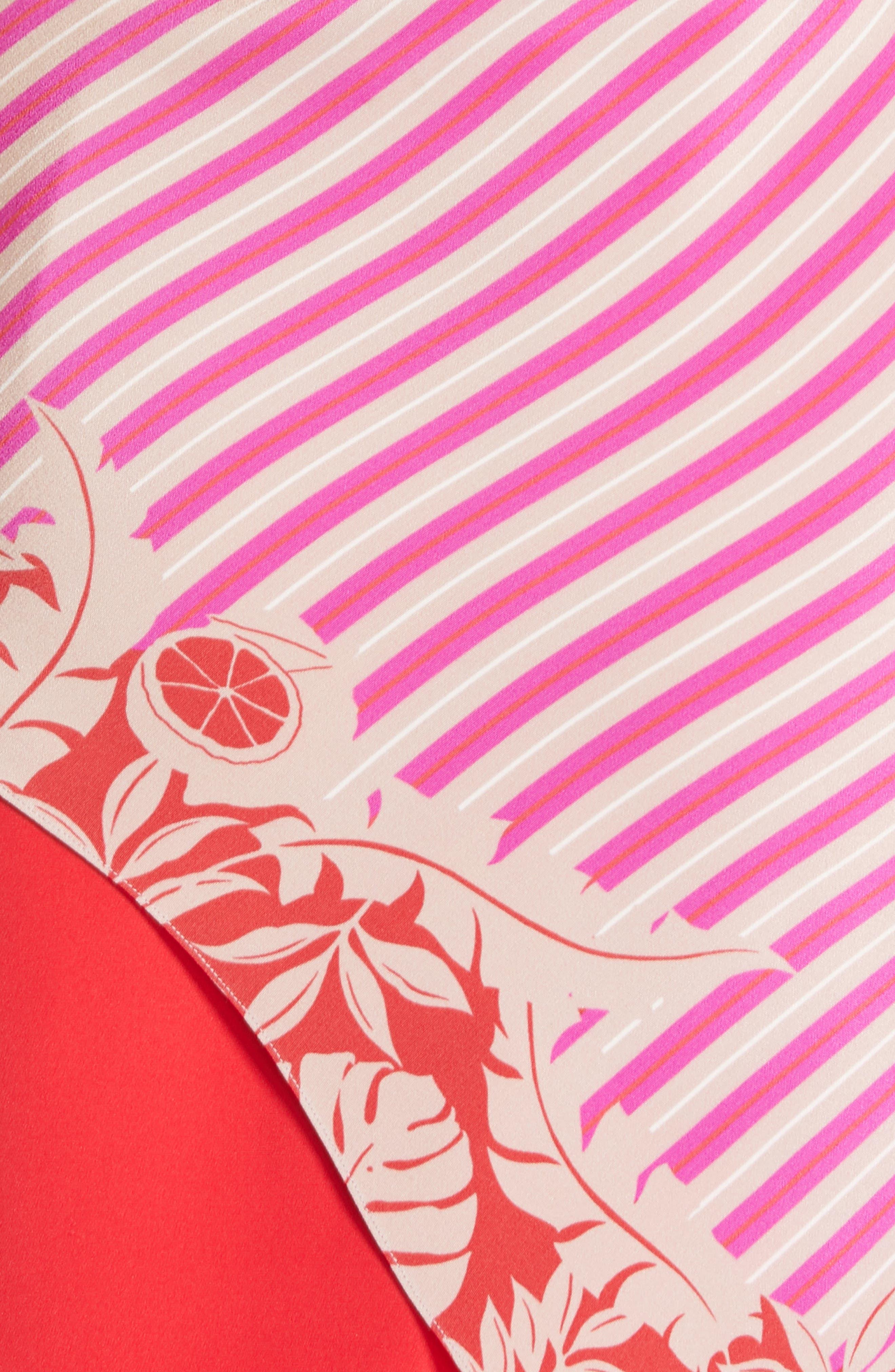 ,                             Asymmetrical Silk Minidress,                             Alternate thumbnail 6, color,                             TROPICAL STRIPE BORDER