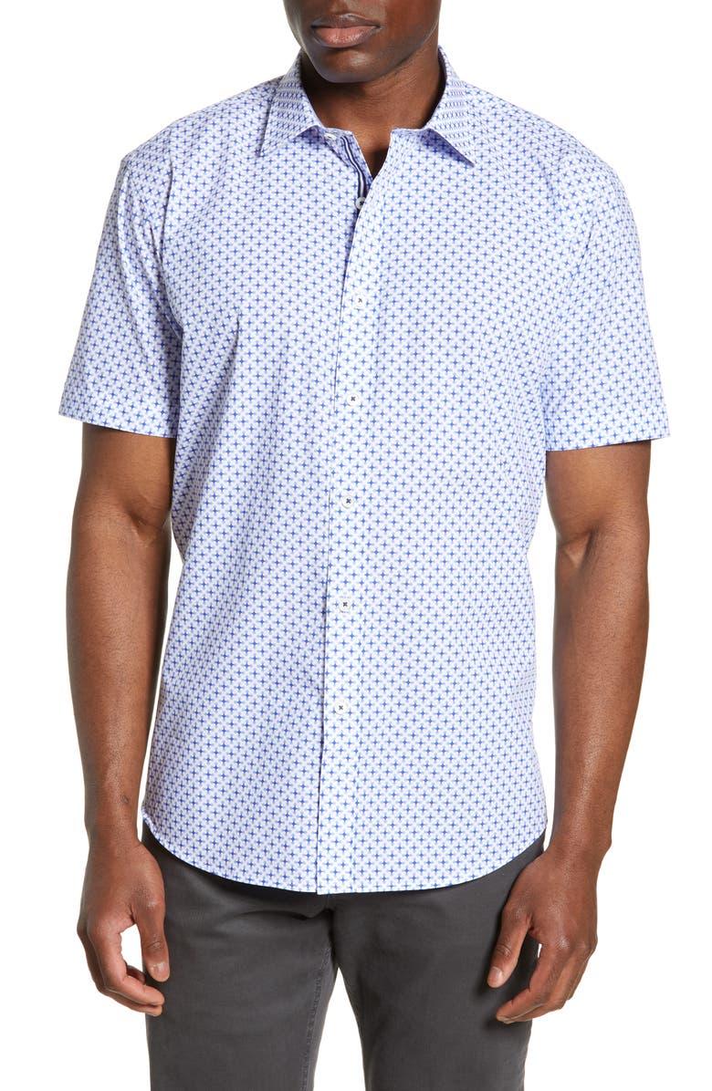 BUGATCHI Shaped Fit Print Shirt, Main, color, CLASSIC BLUE