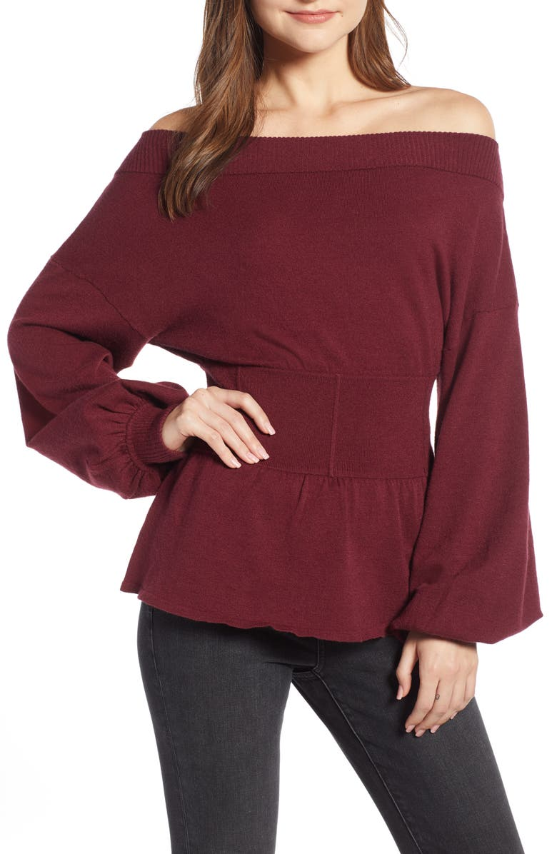 SOMETHING NAVY Waist Detail Off the Shoulder Sweater, Main, color, 601