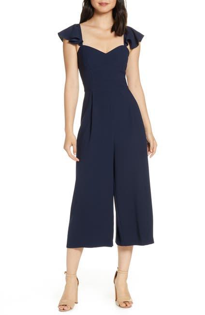 Image of Eliza J Ruffle Sleeve Crop Jumpsuit