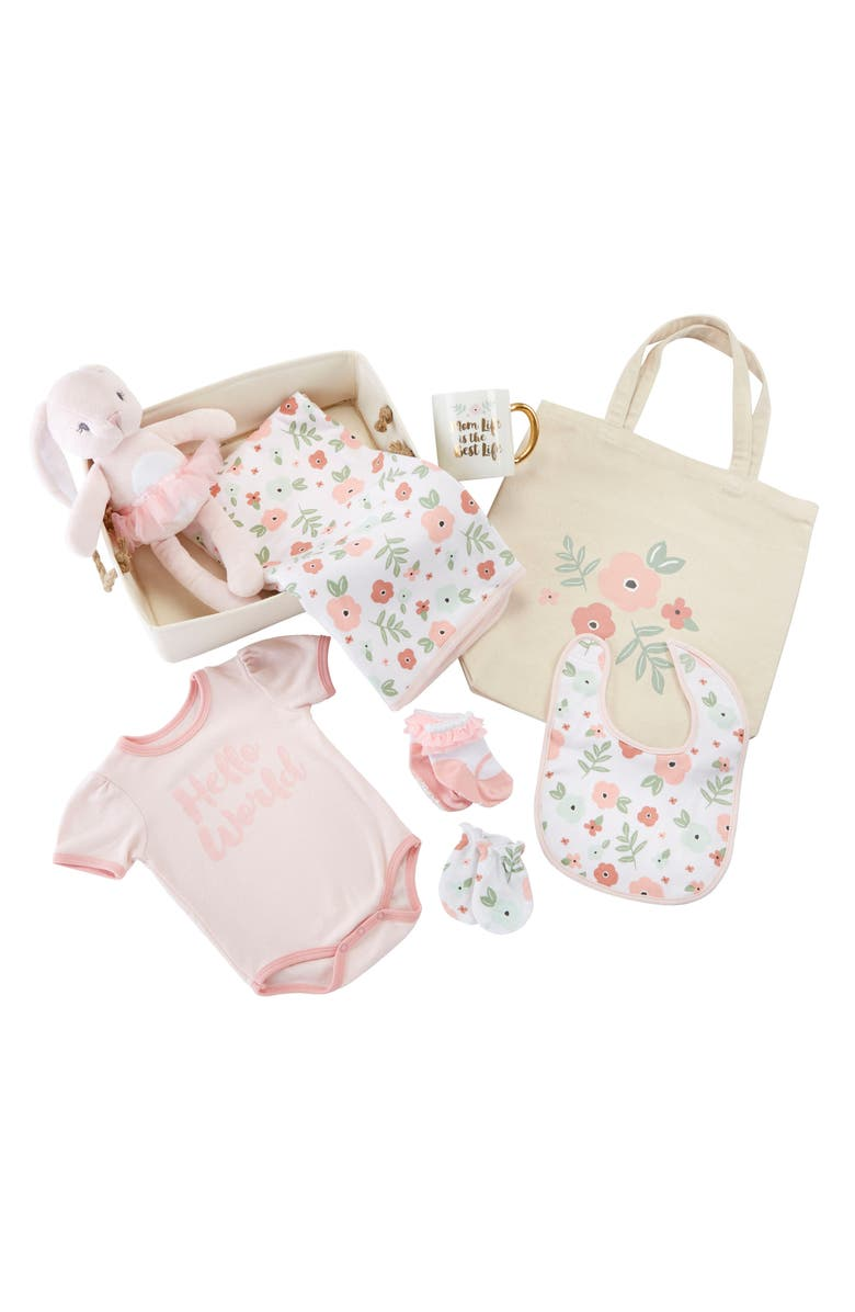 BABY ASPEN Fancy Floral 9-Piece Baby Gift Set, Main, color, PINK
