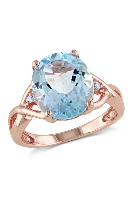Image of Delmar Oval-Cut Blue Topaz & Diamond Ring - 0.01 ctw