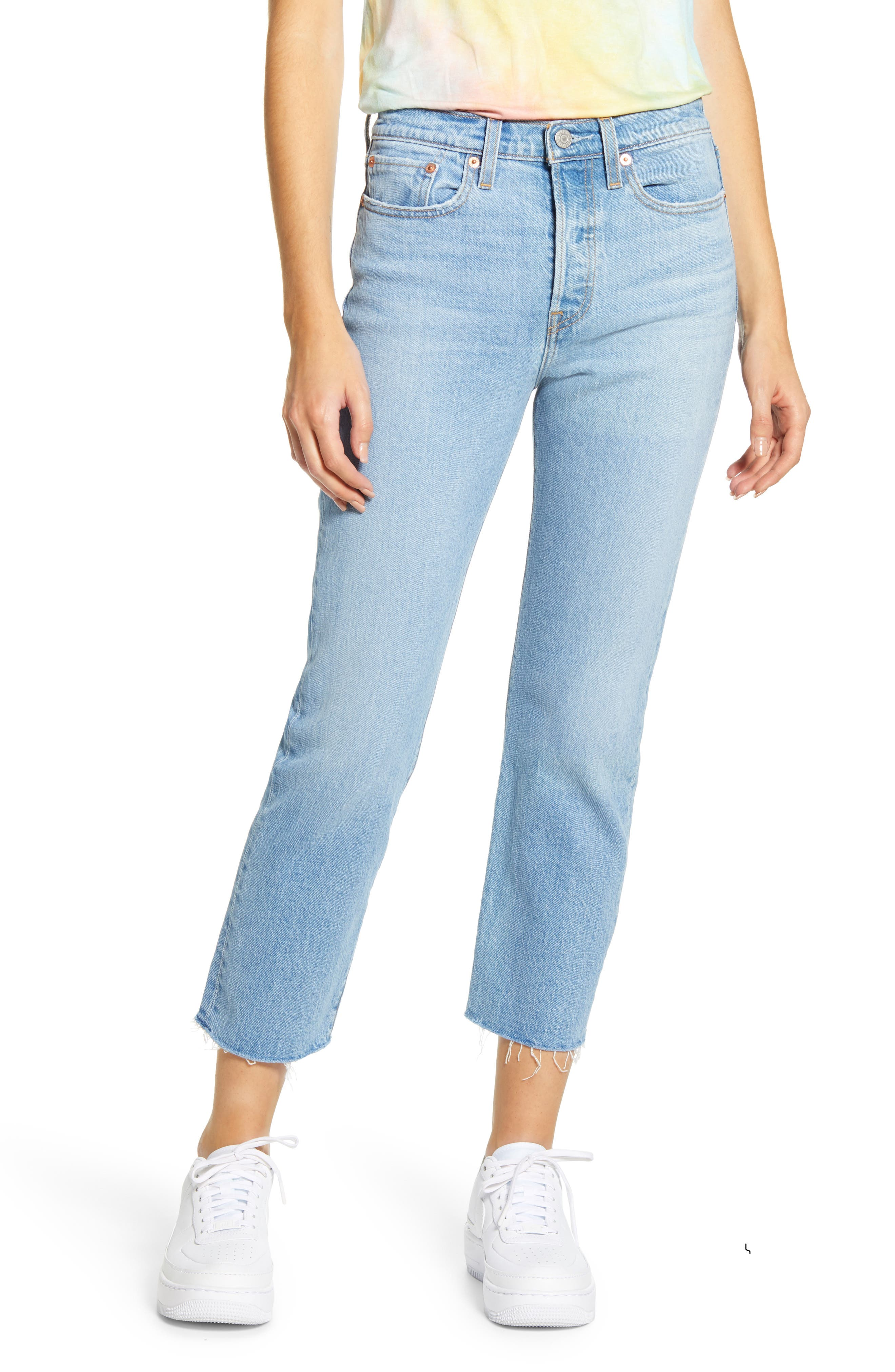 Women's Levi's Wedgie High Waist Raw Hem Straight Leg Jeans,  26 x 26 - Blue