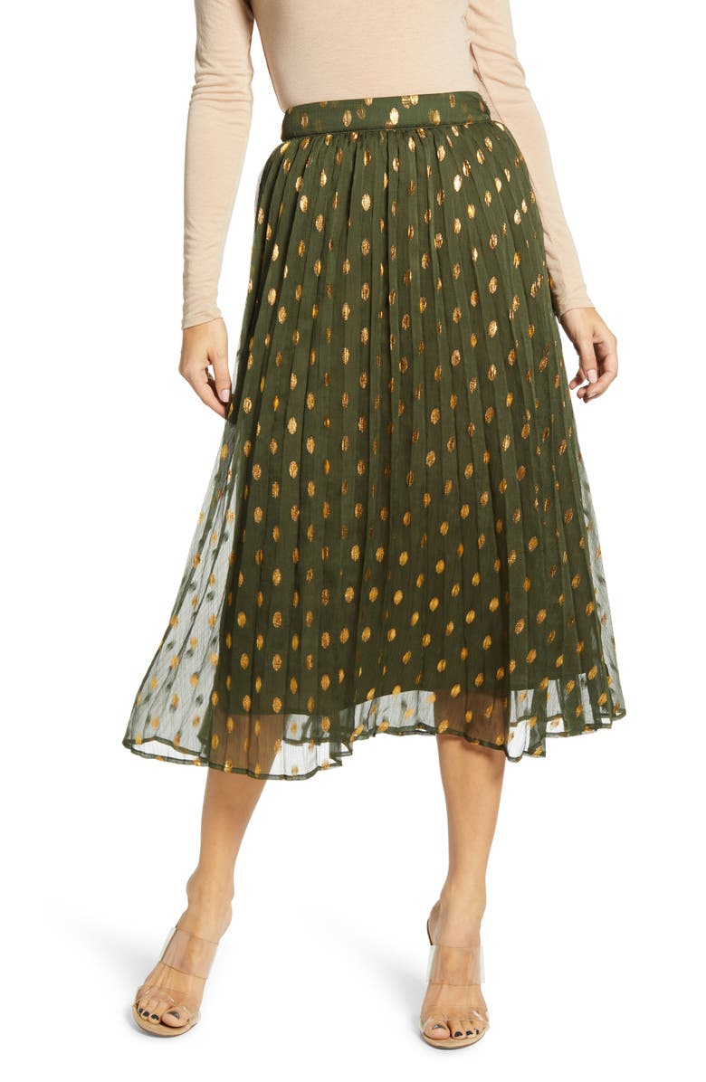 ENDLESS ROSE Polka Dot Pleated Skirt, Main, color, 300