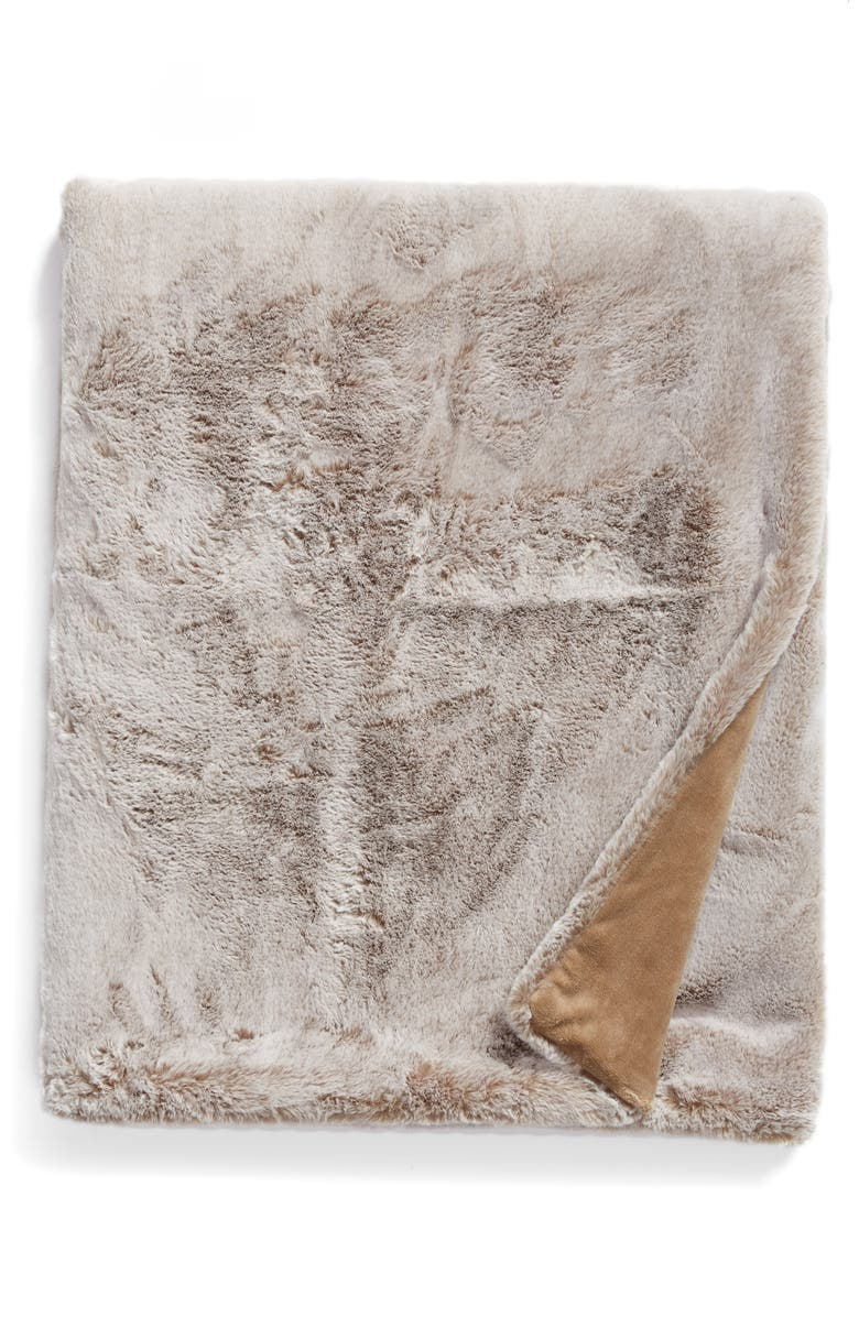 NORDSTROM Faux Mink Fur Throw Blanket, Main, color, TAN GREIGE