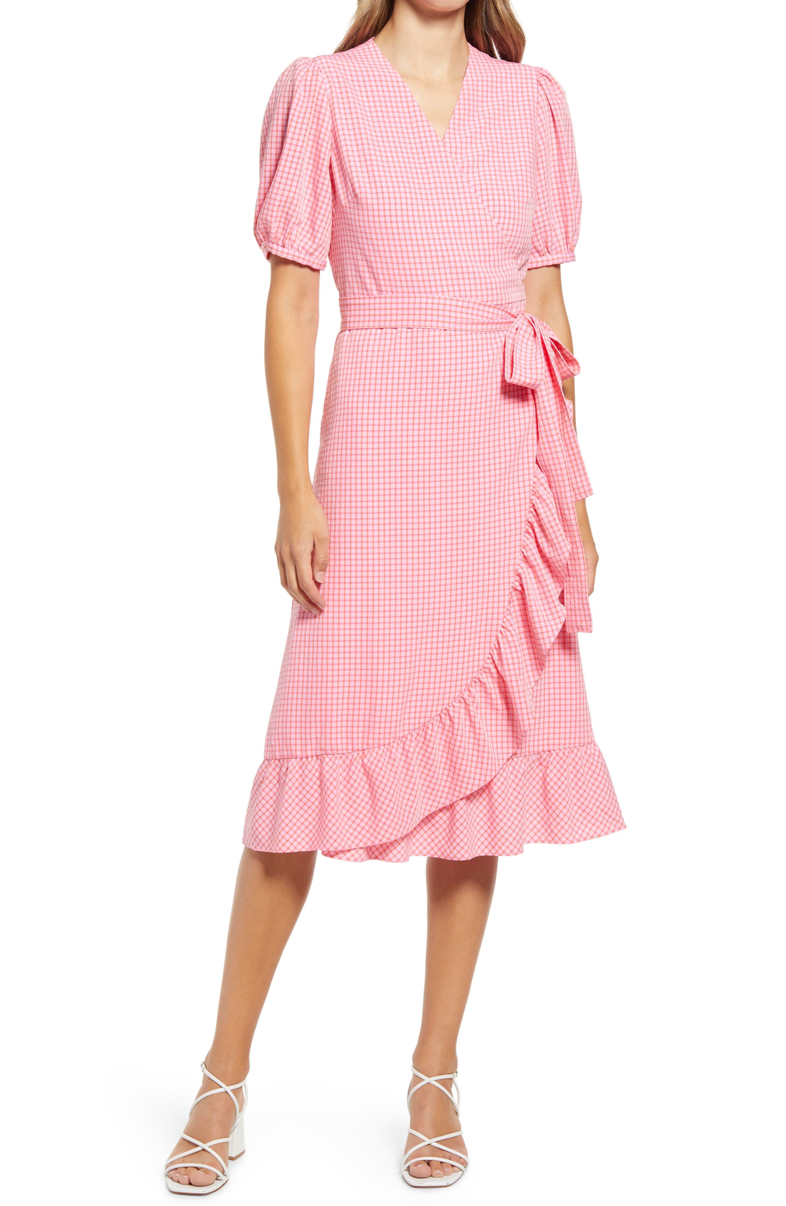 Reba Gingham Seersucker Wrap Dress