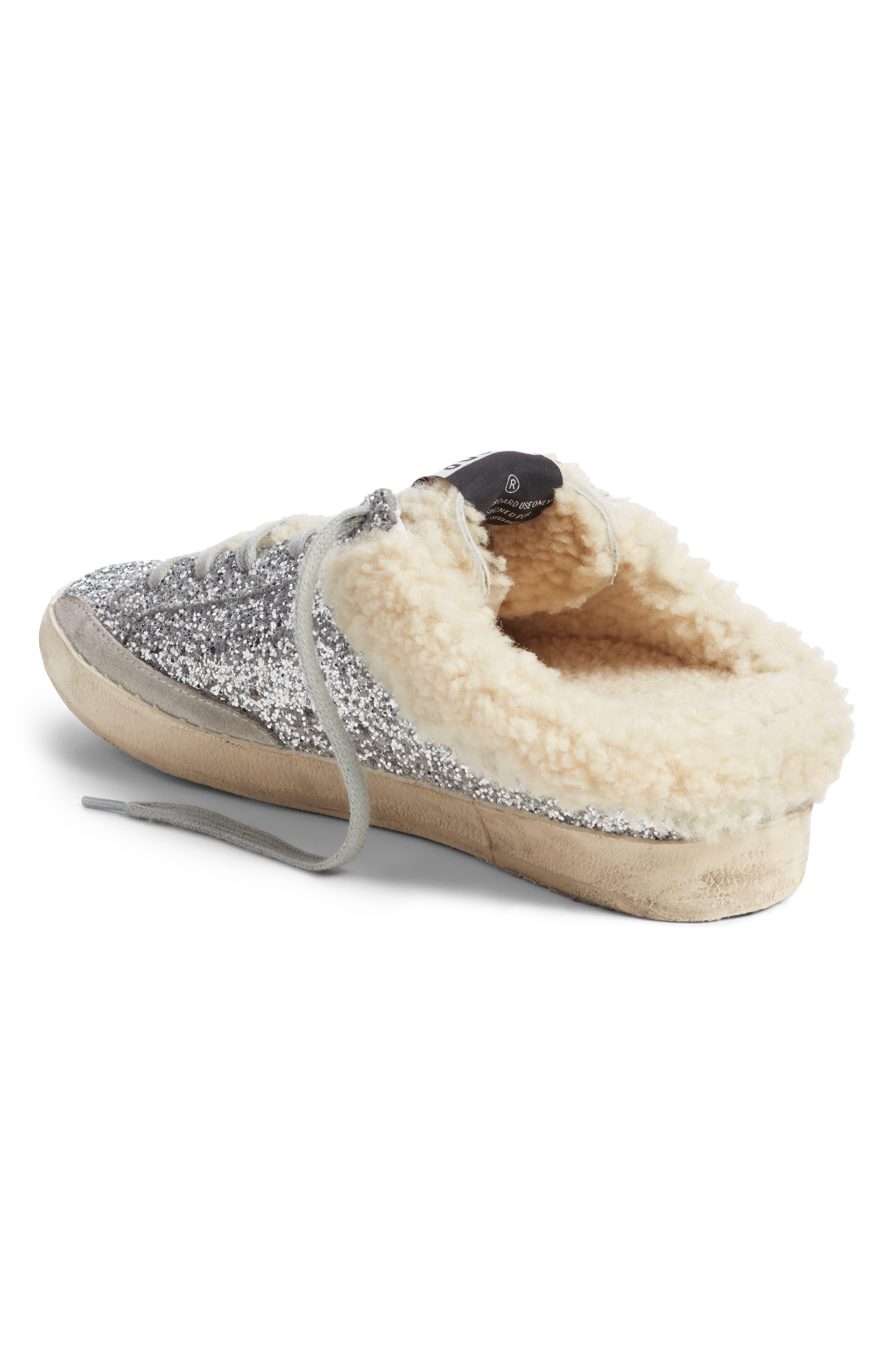 ,                             Sabot Superstar Genuine Shearling Slide Sneaker,                             Alternate thumbnail 2, color,                             SILVER/ WHITE