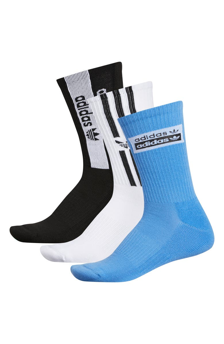 ADIDAS ORIGINALS Stacked Forum 3-Pack Socks, Main, color, REAL BLUE/ WHITE/ BLACK